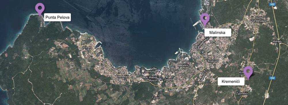 Map - Kremenići, Malinska, Punta Pelova